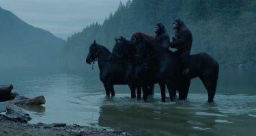 Scimmie a cavallo in Apes Revolution - Il pianeta delle scimmie