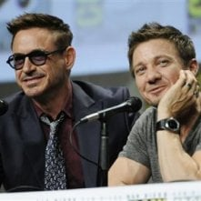 Comic-Con: Marvel Cinema - Robert Downey Jr. e Jeremy Renner in un momento del panel
