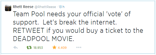 Rhett Reese tweet