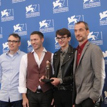 Boxtrolls: Isaac Hempstead-Wright con i registi Graham Annable e Anthony Stacchi e Travis Knight a Venezia 2014