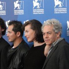 Milla Jovovich, Anton Yelchin, John Leguizamo ed il regista Michael Almereyda al photocall di Cymbeline a Venezia 2014