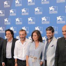Sabina Guzzanti con il cast al photocall de La trattativa a Venezia 2014