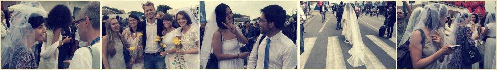 Le (finte) spose riunite a Venezia 2014 per il film Io sto con la sposa
