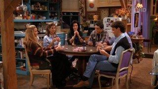 Friends: il cast in una scena dell'episodio Lezioni di poker