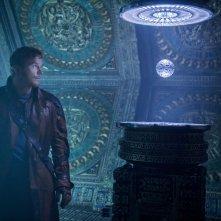 Guardiani della Galassia: Chris Pratt nel ruolo di Peter Quill in una scena del film