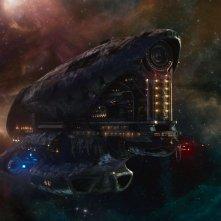 Guardiani della Galassia: gigantesche astronavi spaziali in una scena del kolossal fantascientifico