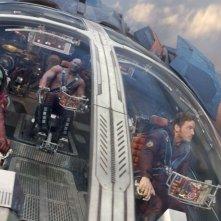 Guardiani della Galassia: Chris Pratt, Zoe Saldana e Dave Bautista nella loro astronave in una scena del film