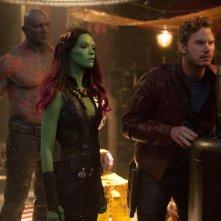 Guardiani della galassia: Chris Pratt, Dave Bautista e Zoe Saldana in azione