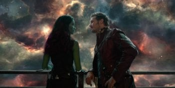 Chris Pratt con Zoe Saldana in Guardiani della Galassia