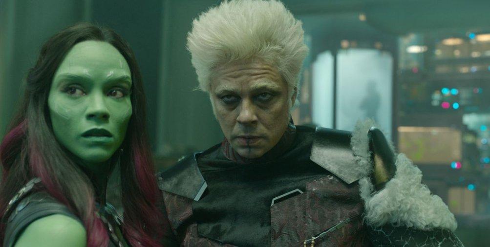 Guardiani della Galassia: Benicio Del Toro e Zoe Saldana in una scena