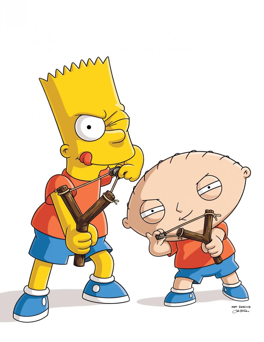 The Simpsons Guy: Bart e Stewie in un'immagine promozionale del crossover Simpson/Griffin