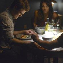 The Vampire Diaries: Paul Wesley, Gabrielle Walsh e Michael Malarkey in una scena di Yellow Ledbetter