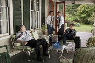 The Judge: Robert Downey Jr. con Robert Duvall, Vincent D'Onofrio e Jeremy Strong in una scena del film