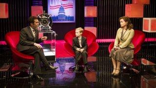 Lo straordinario viaggio di T.S. Spivet: Helena Bonham Carter, Kyle Catlett e Rick Mercer in una scena del film