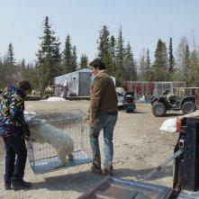 Il mio amico Nanuk: Dakota Goyo e Goran Visnjic trasportano l'orsetto Nanuk in una scena del film
