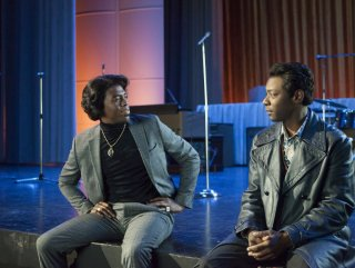 Get on Up: Chadwick Boseman e Nelsan Ellis in una scena del film biografico musicale su James Brown