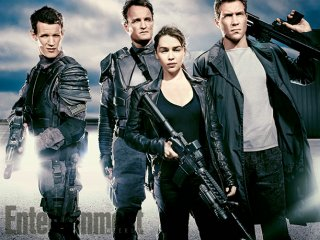 Terminator: Genisys - Foto di gruppo per Matt Smith, Jai Courtney, Jason Clarke e Emilia Clarke