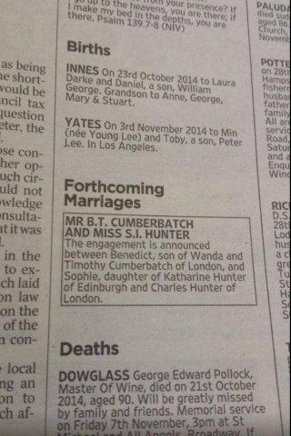 L'annuncio delle nozze tra Benedict Cumberbatch e Sophie Hunter