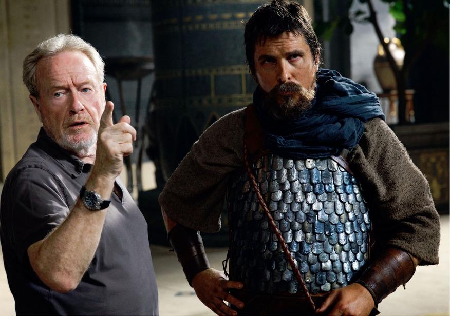 Christian Bale e Ridley Scott sul set di Exodus - Dei e Re