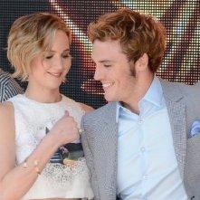 Hunger Games - Il canto della rivolta parte 1: Jennifer Lawrence e Sam Claflin durante il tour promozionale