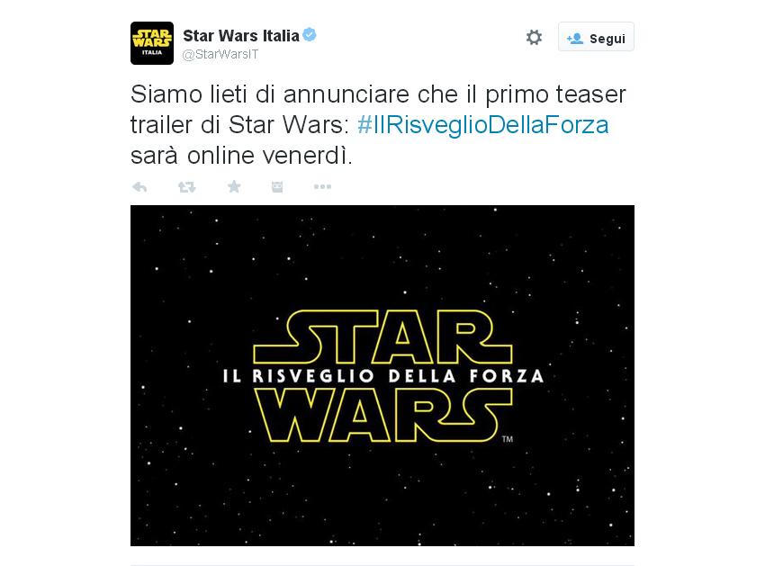 Star Wars - Il risveglio della forza: il tweet ufficiale italiano col titolo