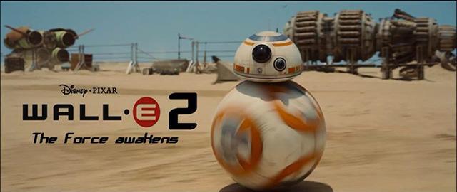 Star Wars - il risveglio della forza: vignetta sul droide e wall e