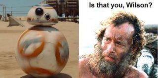 Star Wars - il risveglio della forza: vignetta sul droide con tom hanks