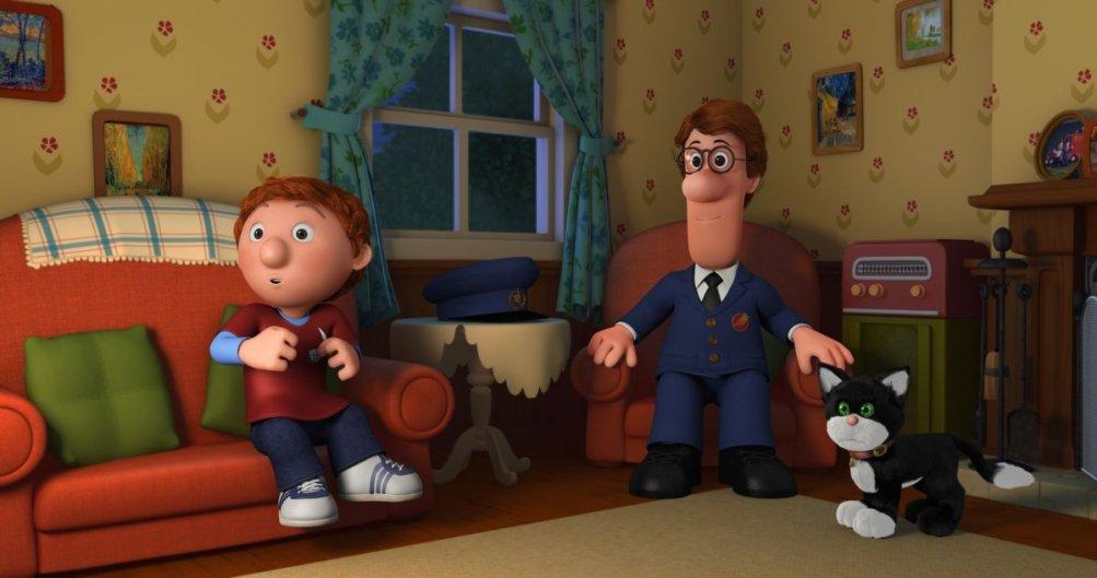 Postino Pat - Il Film: Pat con il piccolo Julian e il gatto Jesse in una scena del film