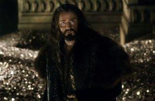 Lo hobbit: la battaglie delle cinque armata: Thorin Oakenshield con il tesoro di Erebor