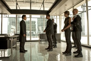 Daniel Dae Kim, Shailene Woodley e Theo James in una scena di The Divergent Series: Insurgent