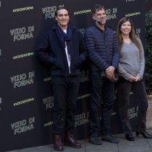 Vizio di forma: Joaquin Phoenix, Paul Thomas Anderson insieme alla produttrice Joanne Sellar al photocall romano