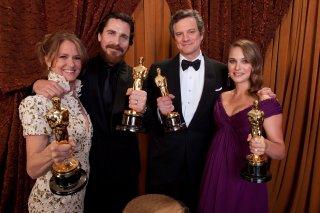Oscar 2011: Melissa Leo, Christian Bale, Colin Firth e Natalie Portman con i loro Academy Awards