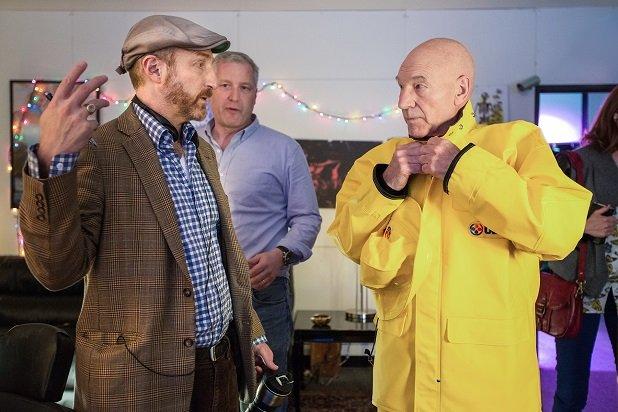 Blunt Talk: Jonathan Ames e Patrick Stewart sul set