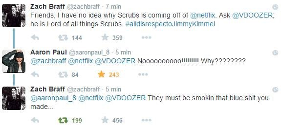 Scrubs è salvo: grazie a Zach Braff, Aaron Paul e Twitter