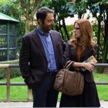 Leoni: Neri Marcorè con Anna Dalton in una scena