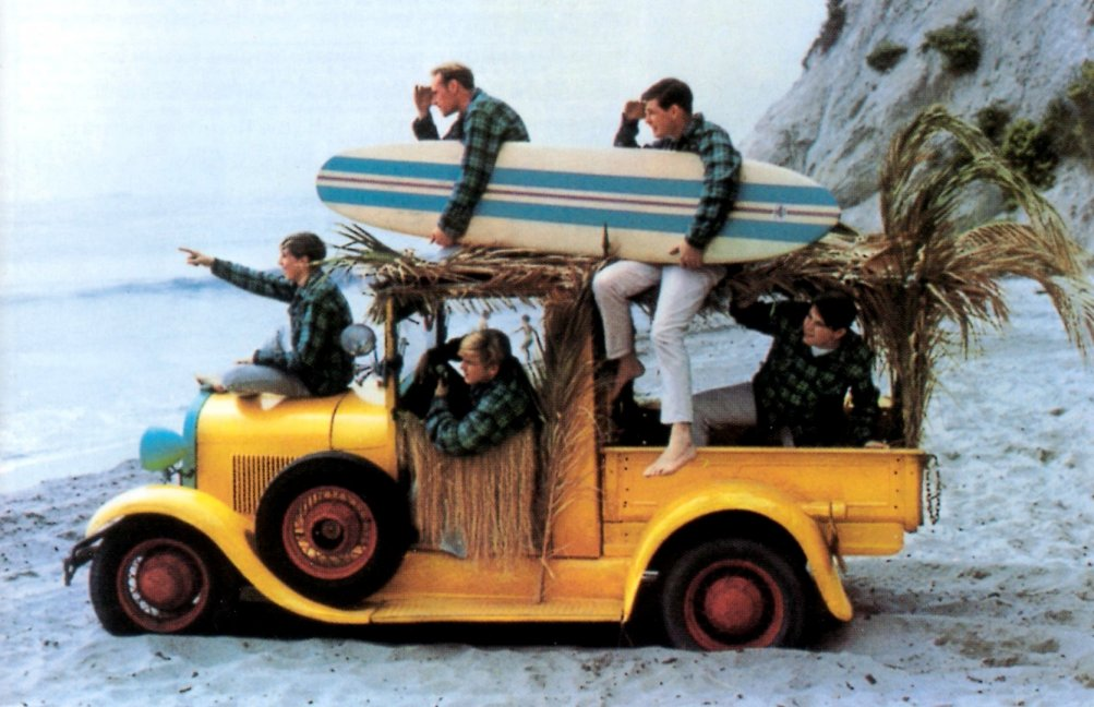 I Beach Boys in movimento: Brian, Dennis, Carl Wilson e il cugino Mike Love