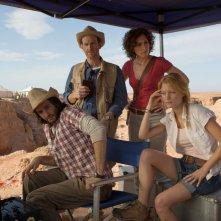 La Piramide: Kamir Amyab con Dennis O'Hare, Crista Nicola e Ashley Hinshaw in una scena dell'horror