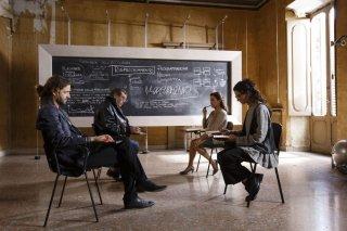 Le leggi del desiderio: Silvio Muccino con Nicole Grimaudo, Maurizio Mattioli e Carla Signoris in una scena del film