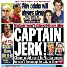 La copertina del New York Daily News in cui William Shatner viene insultato per aver saltato il funerale di Leonard Nimoy
