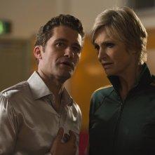 Glee: una scena con protagonisti Will (Matthew Morrison) e Sue (Jane Lynch) tratta dall'episodio Child Star