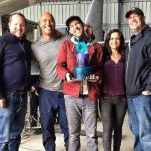 San Andreas: Dwayne Johnson e Carla Gugino con il regista Brad Peyton e la troupe