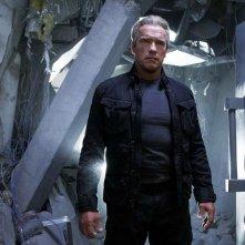 Terminator: Genisys - Arnold Schwarzenegger in una scena del film