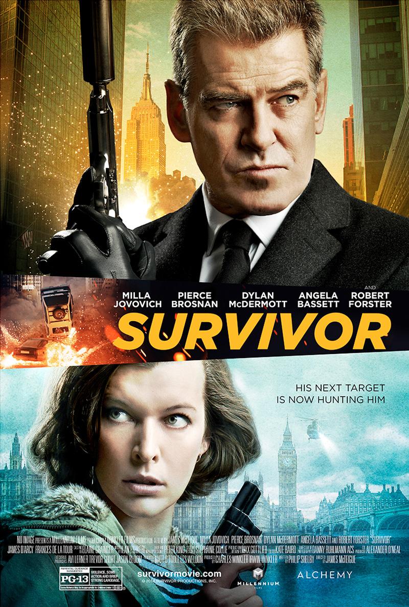 Survivor: il poster con Pierce Brosnan e Milla Jovovich