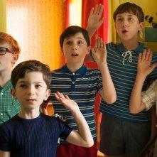 Le vacanze del piccolo Nicolas: Mathéo Boisselier insieme ai suoi compagni di vacanza in una scena del film