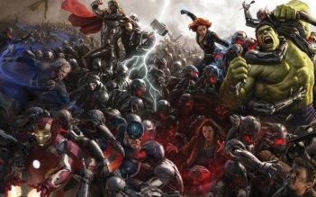 The Avengers - Age of Ultron, i concept art poster uniti insieme a formare una scena di battaglia