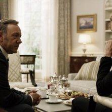 House of Cards: Frank Underwood, interpretato da Kevin Spacey, in una foto di scena della terza stagione