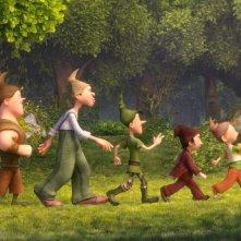 I 7 Nani: passeggiata nel bosco per i nani in una scena del film