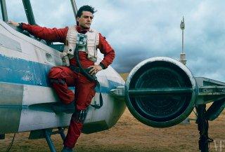 Star Wars: Episodio VII - Il Risveglio della Forza - Oscar Isaac sul set in un'immagine di Vanity Fair