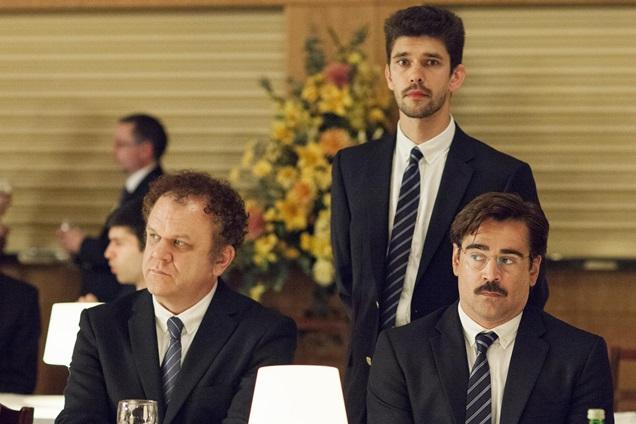 The Lobster: John C. Reilly,  Ben Whishaw e Colin Farrell in una scena del film