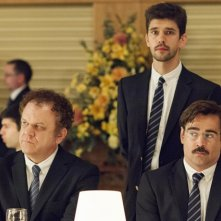 The Lobster: John C. Reilly,  Ben Whishaw e Colin Farrell in una scena del film